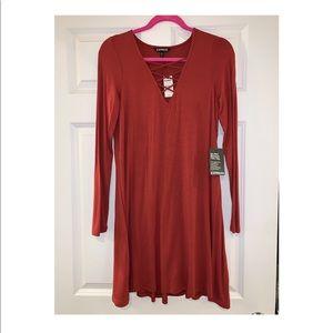 Express rust color jersey mini dress